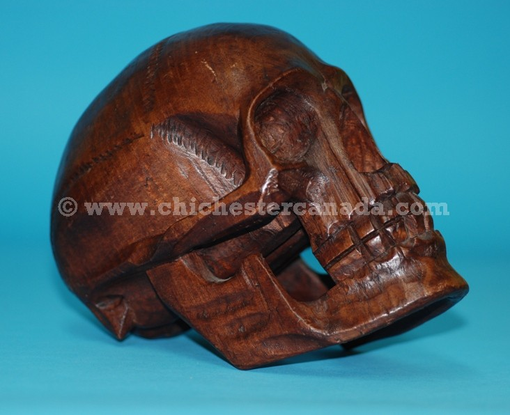 Wooden skull carvings