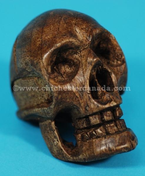 Wooden skull carvings