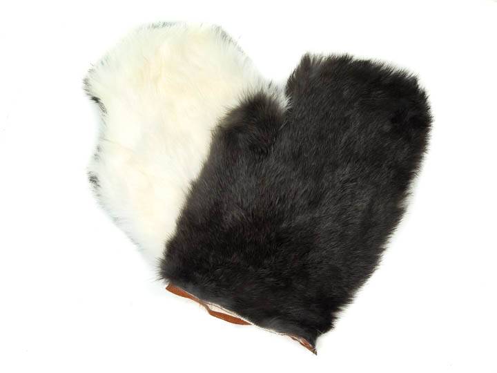 White Rabbit Fur Massage Mitt (Single Mitt) (696-9WH-S) wb89A